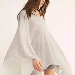 FREE PEOPLE SILVER LURE SHIMMER OVERSIZED HOODED